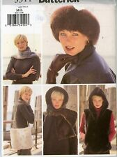 Woman's Winter Accessories Hat, Vest, Scarf, etc Butterick Pattern 3311 Uncut