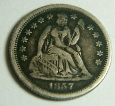 More details for 1857o seated liberty dime ~ usa solid silver 10c coin - nice tone