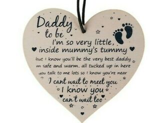 Daddy to be Wooden Love Heart Baby Shower Gift Wine Bottle Tag Message from bump