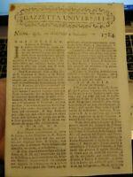 1784 'GAZZETTA UNIVERSALE' SU GUERRA IN OLANDA, TURCHIA; FIANDRE