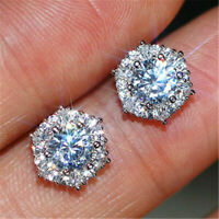 2.00 Ct Round Cut D/VVS1 Diamond Halo Stud Earrings Solid 14K White Gold Over