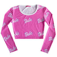 BABE LONG SLEEVE CROP TOP T SHIRT WOMENS GIRL HIPSTER TUMBLR CUTE SWAG PINK DOLL