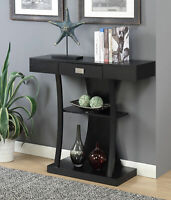 Modern Elegant Console Table w/ Drawer Shelf Storage Accent Display Stand Black