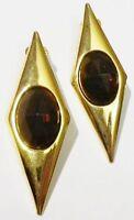Longues boucles d'oreilles clips bijou vintage cabochon marron couleur or *4668