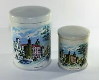 Vintage Storage Tin / Canister London Scenes Leicester Square x 2