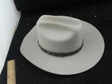 Eddy Bros Cowboy Hat Gray Wool Size 6 7/8 55 Hustler Silver Belly