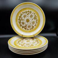 """**Set of 5 Jamestown China USA IRONSTONE 10"""" Yellow/White Daisies Dinner Plates*"""