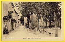cpa Rare 47 - MONCRABEAU (Lot et Garonne) Rue Principale Place Bancs Automobile