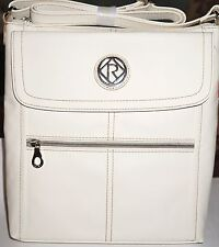 """RELIC Women's """"ERICA"""" Flap Cross-Body Bag Purse """"WHITE"""" Tumbled-Faux-Leather NWT"""