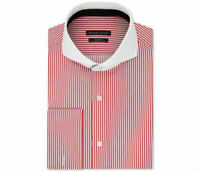 Sean John Men's Tailored-Fit French Cuff Dress Shirt, Red White Stripe 15 32/33