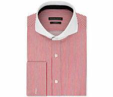 Sean John Men's Tailored-Fit French Cuff Dress Shirt, Red White Stripe 15 32/33
