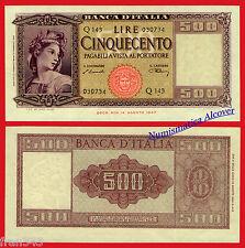 ITALIA ITALY 500 liras lire 1947 1948 Pick 80 a EBC  / XF+ W/H