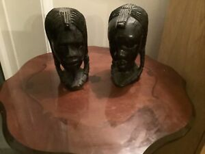VINTAGE  PAIR OF AFRICAN HAND CARVED EBONY HEADS