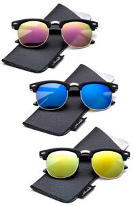 Kids Polarized Vintage Sunglasses Horn Rimmed for Girl Boy Lead Free Flash w/UV
