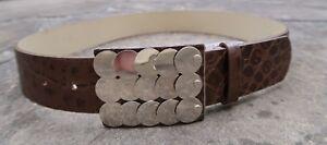 M - Prune Medium Width Brown Leather Belt womens with silver metal disks