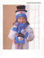 childrens snowman hat scarf and mitts aran knitting pattern 99p 96