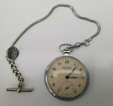 Vintage Sekonda 18 jewels Pocket Watch Made in USSR with fob chain Working