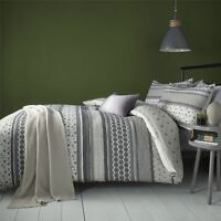 GEOMETRIC STRIPE FLORAL CHARCOAL GREY COTTON BLEND SINGLE DUVET COVER