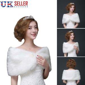 White Faux Fur Wrap Bridal Bolero Warm Shawl Women's Shrug Stole Jacket UK