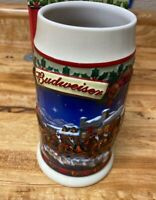 Vintage 2003 Budweiser Clydesdales Holiday Stein ** OLD TOWNE HOLIDAY **