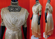 Edwardian Embroidered White Silk Duchesse Bobbin Lace Beaded Wedding Gown Dress