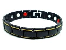 Therapeutic Energy Healing Bracelet Stainless Steel Therapy Magnetic Black&Gold