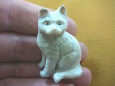 CAT-3) white sitting Kitty Cat kitten shed ANTLER figurine Bali detailed carving