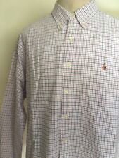 RALPH LAUREN CHECKED DRESS SHIRT ~ White ~ Multi-Color Pony ~ Classic Fit ~ XXL