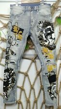 BRAND NEW SMOKE RISE SLIM FIT PATCHED MEN'S JEANS SIZE 30/32/34/36/38/40/42