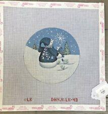 Danji Handpainted Needlepoint Canvas Ornament Snowpeople w Shining Star
