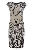 Roman Originals - Floral Side Pleated Jersey Dress Ladies Grey