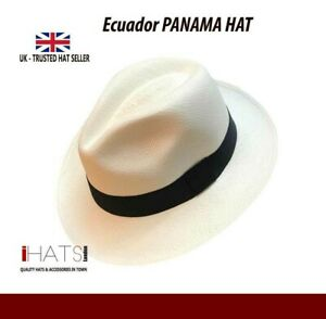 Mens Straw Panama Hat Ecuador 100% Natural Travel Summer Sun Hat-iHATS London UK
