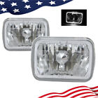7 7x6 Inch Led White Halo Style Halogen Crystal Clear Headlights Headlamps