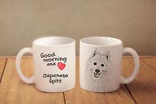 "Japanese Spitz - ceramic cup, mug ""Good morning and love "", Ca"