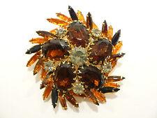 Fabulous Vintage Juliana Dark Topaz & Fiery Orange Rhinestone Brooch / Pin