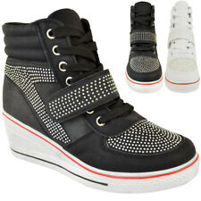 Womens Hi Top Wedge Trainers Lace Up Pumps Ankle Boots Diamante Sneakers Shoes