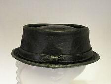 Jill Corbett pork pie hat + band green leather  stingy brim S/M/L/XL/XXL  UK