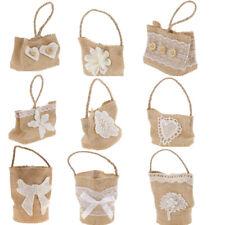 6pcs Vintage Hessian Jute Flower Lace Tote Bag Carry Candy Basket Wedding Favor