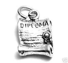 925 Sterling Silver Open Diploma Charm