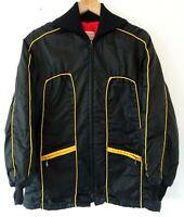 Vtg 70s Ski Doo Bombardier Black Yellow Retro Winter Snowmobile Coat Jacket M L