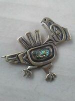 Vintage Navajo Sterling Silver Bird Brooch 925: SIGNED: CRW or ORW #17/500 : 17g