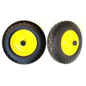 3Centered Hub 1//2 Bearings,Yellow Rim MaxAuto 2PCS 2.80//2.50-4 Flat Free Hand Truck Utility Cart Tire on Wheel