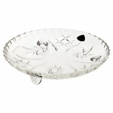 Irena 18cm Small Glass Crystal Dish Traditional Design Tray Plate With Feet