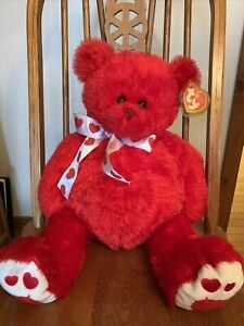 """Ty Punkies Big Siren Extra Large Red Bear Mint With Mint Tags 18"""" Tall"""
