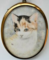 "Original Miniature Watercolour Painting of Cat ""Kitty"" by Gladys Hayton 8cm tall"