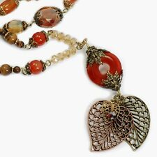 NEW SWEET ROMANCE FILIGREE LEAVES & CRYSTALS NECKLACE ~~BIG & BOLD~~ MADE USA~~