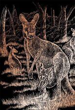 Kratzbild Kratzbilder Känguru mit Baby Kupfer Komplettset 20 cm x 25 cm
