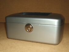 Burg Wachter Cash Box 8-in x 6 1/2-in x 3 1/2-in Silver Germany Made 7200 Steel