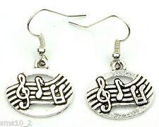 Hand Made Silver Colour Music Manuscript Earrings HCE360
