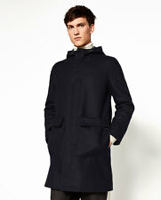 BNWT ZARA MAN NAVY BLUE THREE QUARTER LENGTH HOODED WOOL BLEND COAT XL